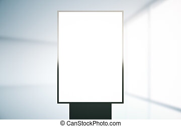 Blank ad stand on bright blurry background Mock up, 3D...