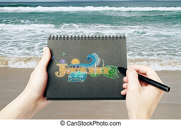 Travel concept - Male hands holding black spiral notepad and...