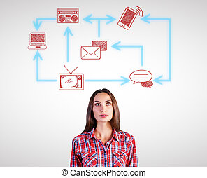 Pretty woman with technology network - Attractive thoughtful...