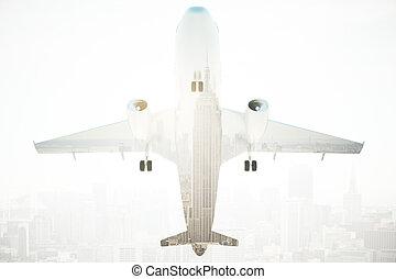 Airplane bottom view multiexposure - Bottom view of airplane...