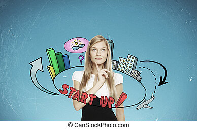Entrepreneurship concept - Thinking young businesswoman with...