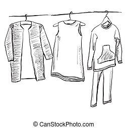 School uniform. Clothes on the hanger - School uniform. Hand...