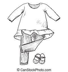 Drawing clothing for little girls. Clothes and shoes sketch