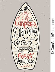 Hand lettering poster with the inscription California...