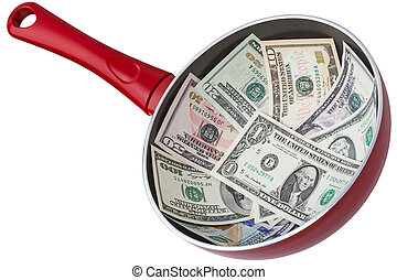 Dollar banknotes in a frying pan. Isolated on white...