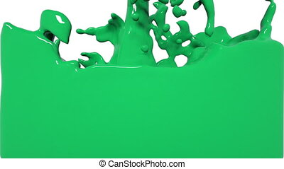 turbulent green liquid filling the frame. Colored paint -...