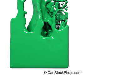 green liquid fills up a container. Colored paint