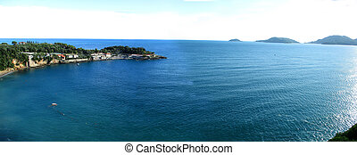 view of the beach and the Gulf of Lerici r - view of the...