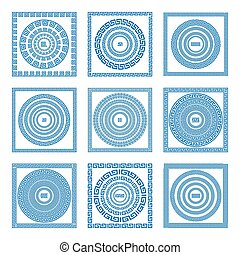 Set of meander borders and frames. Ancient traditional greek decoration. greece blue color. vector