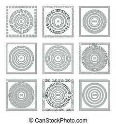 Greek seamless patterns, textures, vector gray background...
