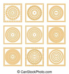 Set collections of old greek ornaments. Orange old style borders on the dark background. Ethnic patterns. Vector illustrations.