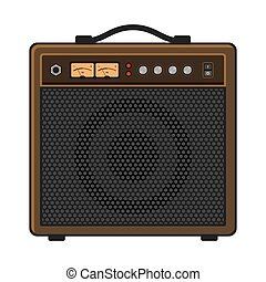Electric Guitar Amplifier on White Background. Vector...