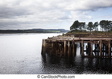 Old Pier - A old pier in wreckage of an abandoned ship...