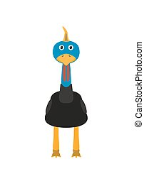 Funny cassowary character - Cassowary illustration as a...