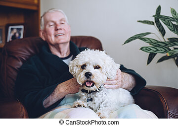 Senior Man and his Dog - Senior man sitting at home with his...