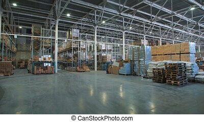 Large warehouse prodoaolstviya. Comercial store with a variety of food products.