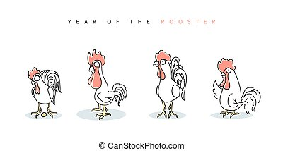 Rooster. Chinese New Year Symbol 2017. Funny rooster and hen...