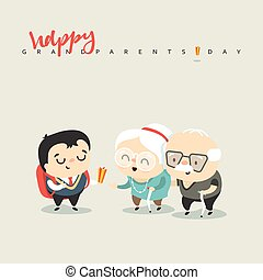 Cartoon characters grandfather grandmother and grandson The...