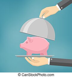 The businessman offering piggybank on the clothe. - The...
