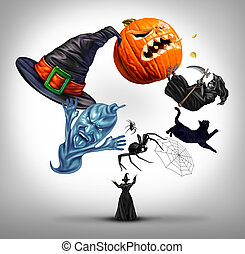 Halloween Juggling witch - Halloween juggling witch as a...