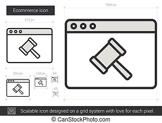 Ecommerce line icon - Ecommerce vector line icon isolated on...