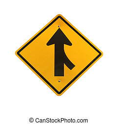 Lanes merging right traffic sign
