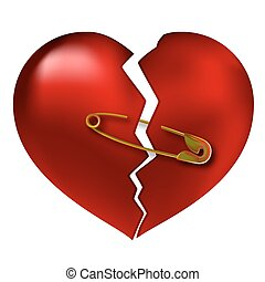 Broken heart torn, vector illustration art of love