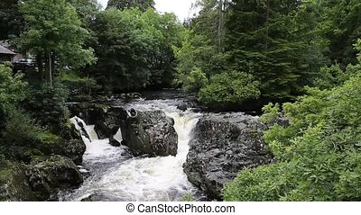 Snowdonia National park river - Betws-y-Coed Wales UK...