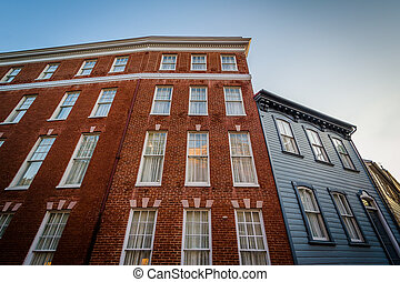 Historic brick buildings in downtown Annapolis, Maryland.