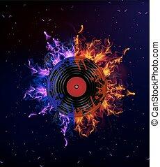 vinyl record in the fire - Vinyl record on fire, vector art...