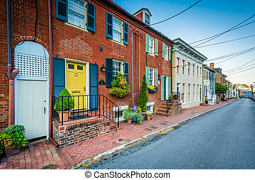 Historic houses and a street in Annapolis, Maryland.