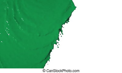 green liquid flows from above and fills the screen. Colored paint