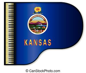Grand Piano Kansas Flag - The Kansas state flag set into a...