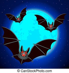Bats and blue Moon