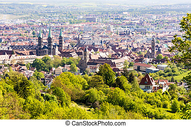 Aerial view over the city of Bamberg