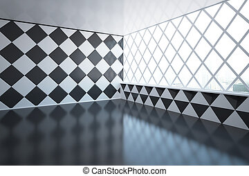 Empty patterned room - Abstract empty room design with...