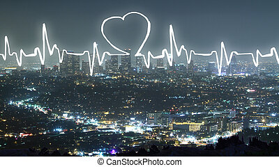 Cardiogram on city background - Abstract cardiogram on...