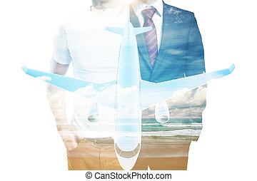 Men and airplane multiexposure