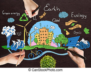 Green world concept - Hands drawing creative doodle of globe...