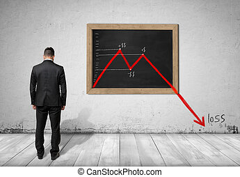 Businessman standing in front of blackboard with falling...