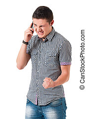 Anger young man with phone - Angry man with phone isolated...
