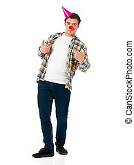 Man with clown nose - Handsome man clown isolated on white...