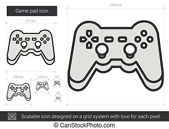 Game pad line icon - Game pad vector line icon isolated on...
