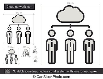 Cloud network line icon. - Cloud network vector line icon...