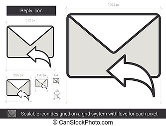 Reply line icon - Reply vector line icon isolated on white...