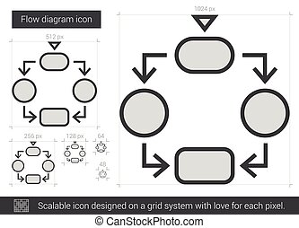 Flow diagram line icon. - Flow diagram vector line icon...