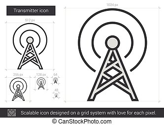 Transmitter line icon. - Transmitter vector line icon...