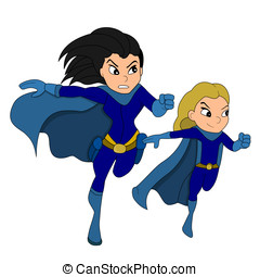 Superhero and a sidekick cartoon - Illustration of a...