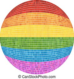 Gay pride Ball in mosaic - Illustration, Rainbow Sphere...