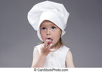 Cooking Concepts and Ideas. Portrait of Lovely Cute...